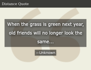 SIZZLE: When the grass is green next year, old friends will no longer look the same...