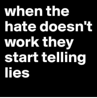 lies: when the  hate doesn't  work they  start telling  lies