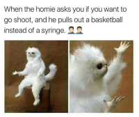 """Basketball, Dank, and Homie: When the homie asks you if you want to  go shoot, and he pulls out a basketball  instead of a syringe. <p>Let down again via /r/dank_meme <a href=""""http://ift.tt/2zWdC5L"""">http://ift.tt/2zWdC5L</a></p>"""