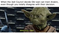 Jedi Council: When the Jedi Council decide Obi-wan can train Anakin,  even though you totally disagree with their decision.  democracy/ Hate