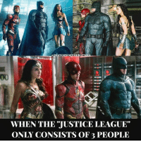 """Batman, Memes, and News: WHEN THE """"JUSTICE LEAGUE""""  ONLY CONSISTS OF 3 PEOPLE Evening Gothamites! In SDCC news, Entertainment Weekly released another still shot as part of their Comic Con magazine issue from """"Justice League"""" (bottom pic presented) featuring @Gal_Gadot's Wonder Woman, Ezra Miller's Flash and @BenAffleck's Batman! Saturday as part of WBSDCC a brand new trailer will be released for this next DCEU film! What are you looking forward to seeing in the newest trailer? Directed by Zack Snyder and also starring @PrideofGypsies as Aquaman, Ray Fisher as Cyborg and @HenryCavill as Superman, @JusticeLeague is set to hit theaters November 17. Thanks for following and we'll have more History of the Batman soon! ✌🏼💙🦇🎬"""