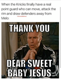 Knicks fans, nearly 10 years after Stephon Marbury left us, the good lord has delivered us Derrick Rose!  What are YOUR thoughts on the Knicks' offense so far? -Tommy  New York Knicks Memes: When the Knicks finally have a real  point guard who can move, attack the  rim and draw defenders away from  @Knicks Memes  Melo  THANK YOU  DEAR SWEET  BABY JESUS Knicks fans, nearly 10 years after Stephon Marbury left us, the good lord has delivered us Derrick Rose!  What are YOUR thoughts on the Knicks' offense so far? -Tommy  New York Knicks Memes