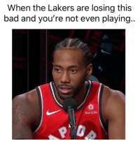 Bad, Basketball, and Los Angeles Lakers: When the Lakers are losing this  bad and you're not even playing.  Sun Life At least they closed the lead 😂