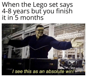 ®: When the Lego set says  4-8 years but you finish  in 5 months  |I see this as an absolute win! ®