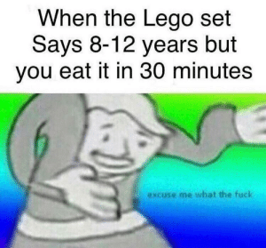 Dank, Lego, and Memes: When the Lego set  Says 8-12 years but  you eat it in 30 minutes  excuse me what the fuck but wot do yew meen by MastaMamba MORE MEMES