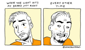 Beard, Woes, and Time: WHEN THE LIGHT HITS  MY BEARD JUST RIGH T  EVERY OTHER  TIME  OSEANYBOyDRAW.S [OC] Scrappy beard woes