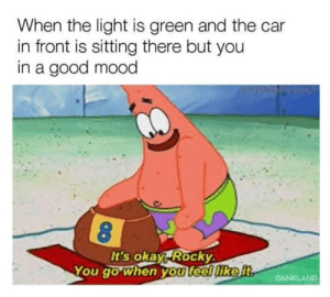 Funny, Memes, and Mood: When the light is green and the car  in front is sitting there but you  in a good mood  It's okay, Rocky  You go when you feel like it,  DANKLAND 35 Very Funny Memes Pictures To Make Your Day