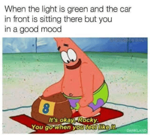 Today is a good day by NooneHasThatName FOLLOW 4 MORE MEMES.: When the light is green and the car  in front is sitting there but you  in a good mood  It's okay Rocky  You go when you feel like it  DANKLAND Today is a good day by NooneHasThatName FOLLOW 4 MORE MEMES.