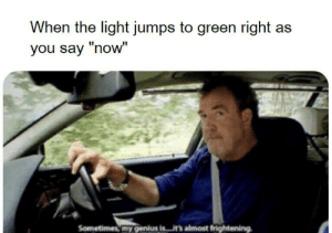 """Reddit, Genius, and Frightening: When the light jumps to green right as  you say """"now""""  Sometimes my genius is...it's almost frightening ...13 times."""