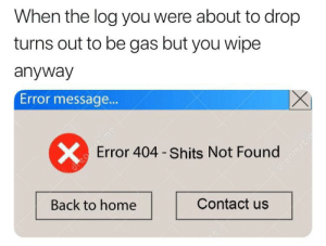 Reddit, Ghost, and Home: When the log you were about to drop  turns out to be gas but you wipe  anyway  Error messag...  Error 404 - Shits Not Found  ar  dre  Back to home  Contact us  X  Jreantime Ghost Recon: Toilet