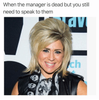 Funny, Meme, and Content: When the manager is dead but you still  need to speak to them  .C This is peak meme content (@sonny5ideup)