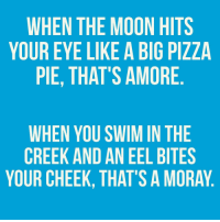 Pizza, Moon, and Eye: WHEN THE MOON HITS  YOUR EYE LIKE A BIG PIZZA  PIE, THAT'S AMORE  WHEN YOU SWIM IN THE  CREEK AND AN EEL BITES  YOUR CHEEK, THAT'S A MORAY
