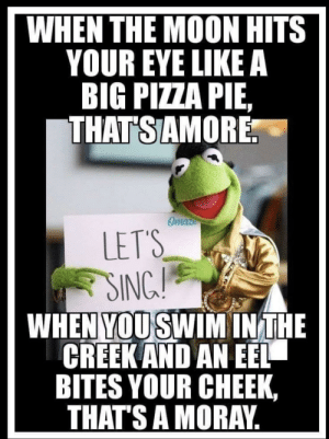 Pizza, Moon, and Forwardsfromgrandma: WHEN THE MOON HITS  YOUR EYE LIKE A  BIG PIZZA PIE,  THATSAMORE  Omaze  LET'S  !  SING  WHEN YOU SWIM INTHE  CREEK AND AN EEL  BITES YOUR CHEEK,  THAT'S A MORAY Clever Kermit