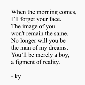 Image, Dreams, and Reality: When the morning comes,  I'll forget your face.  The image of you  won't remain the same.  No longer will you be  the man of my dreams.  You'll be merely a boy,  a figment of reality  - ky