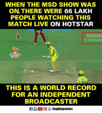 #MSD #CSK #CSKvRCB #HotStar: WHEN THE MSD SHOW WAS  ON THERE WERE 66 LAKH  PEOPLE WATCHING THIS  MATCH LIVE ON HOTSTAR  hotsta  O 6.6M LIVE  AUGHING  THIS IS A WORLD RECORD  FOR AN INDEPENDENT  BROADCASTER  R 。回參/laughingcolours #MSD #CSK #CSKvRCB #HotStar