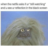 "Memes, Netflix, and Black: when the netflix asks if ur ""still watching""  and u see ur reflection in the black screen So accurate I choked 😂"