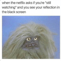 "Facebook, Instagram, and Lmao: when the netflix asks if you're ""still  watching"" and you see your reflection in  the black screen Lmao 😂😂 TAG 3 HOMIES 👊btw guys get Social Bolt, shows your stalkers for Instagram and Facebook 😍😍, link in bio"