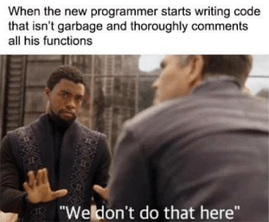 "weirdo: When the new programmer starts writing code  that isn't garbage and thoroughly comments  all his functions  ""Weldon't do that here"" weirdo"