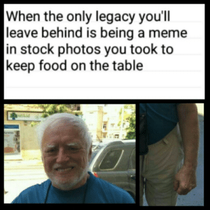 Food, Meme, and Legacy: When the only legacy you'll  leave behind is being a meme  in stock photos you took to  keep food on the table