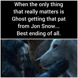 Game of Thrones, Jon Snow, and Best: When the only thing  that really matters is  Ghost getting that pat  from Jon Snow...  Best ending of all