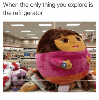 Funny, Refrigerator, and Via: When the only thing you explore is  the refrigerator Eater no eating 😅😅 Via @theyamgram
