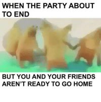 Dank, 🤖, and Homes: WHEN THE PARTY ABOUT  TO END  BUT YOU AND YOUR FRIENDS  AREN'T READY TO GO HOME Can't stop won't stop.