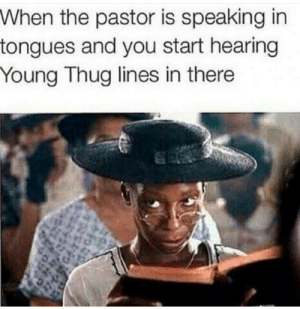 Let me tell you how I spent a couple hundreds today: When the pastor is speaking in  tongues and you start hearing  Young Thug lines in there Let me tell you how I spent a couple hundreds today
