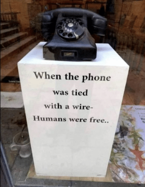 Dank, Phone, and Free: When the phone  was tied  with a wire-  Humans were free..