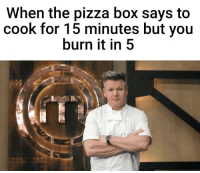 Pizza, Box, and You: When the pizza box says to  cook for 15 minutes but you  burn it in5 маsтеrснеf