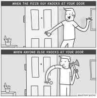 All of us.: WHEN THE PIZZA GUY KNOCKS AT YOUR DOOR  WHEN ANYONE ELSE KNOCKS AT YOUR DOOR  dustinte ractive All of us.