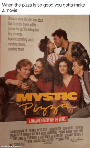 """This is culture 100%: When the pizza is so good you gotta make  a movie  Discover a movie which hits home about  bve, fiendship, dreoms and ife.  A movie that you'l be toking obout  long aftewards.  Experence somethin specal  something romantic,  something honest.  MYSTIC  Pizya  A ROMANTIC COMEDY WITH THE WORKS.  SAMUEL GOLDWYN, JR. PRESENTS MYSTIC PIZZA ANNAGETH GISH JULIA ROBERTS LU TAYLOR  VINCENT PHILLIP D'ONOFRIO WILLIAM R. MOSES ADAM STORKE FDAVID MCHUGH AMY JONES  """"HAMY JONES and PERRY HOWNZE & RANDY HOWZE and ALFRED UHRY SAMUEL GOLDWYN, JR  MARK LEVINSON &SCOTT ROSENFELT DONALD FEIRE al  made with mematic This is culture 100%"""