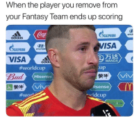 Who did ya remove? 😢: When the player you remove from  your Fantasy Team ends up scoring  BAZPROM  VISA  Coca  HYUİ  adidas  GGAZPROMHrun  HYUNDR  万达  WANDA  #worldcup  Bud  蒙牛  Up  縈牛  lisense  Hisense  VIV  VIV  #wor  arldcup Who did ya remove? 😢