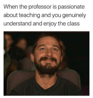 Passionate, Teaching, and Class: When the professor is passionate  about teaching and you genuinely  understand and enjoy the class