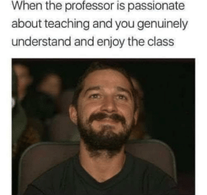 meirl: When the professor is passionate  about teaching and you genuinely  understand and enjoy the class meirl
