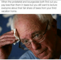 proletariat: When the proletariat and bourgeoisie both find out you  pay less than them in taxes but you still want to lecture  everyone about their fair share of taxes from your third  vacation home.