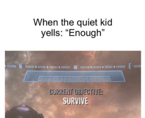 "*Scream noises*: When the quiet kid  yells: ""Enough""  E  NE  1Il11I 11  CURRENT OBJECTIVE:  SURVIVE *Scream noises*"