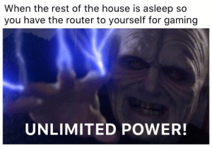 Target, Tumblr, and Blog: When the rest of the house is asleep so  you have the router to yourself for gaming  UNLIMITED POWER! funnygamememes:Accurate