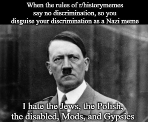 Modern Problems require Modern Solutions. (Please don't take this post seriously): When the rules of r/historymemes  say no discrimination, so you  disguise your discrimination as a Nazi meme  I hate the Jews, the Polish  the disabled, Mods, and Gypsies Modern Problems require Modern Solutions. (Please don't take this post seriously)