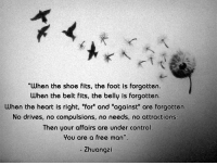 """When the shoe fits, the foot is forgotten.... free man"" - Zhuangzi [1024 X 768]: ""When the shoe fits, the foot is forgotten.  When the belt fits, the belly is forgotten.  When the heart is right, ""for and ""against"" are forgotten.  No drives, no compulsions, no needs, no attractions:  Then your affairs are under control  You are a free man""  Zhuangzi ""When the shoe fits, the foot is forgotten.... free man"" - Zhuangzi [1024 X 768]"