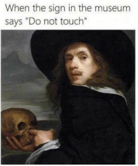 "MeIRL, Touch, and Sign In: When the sign in the museum  says ""Do not touch"" Meirl"