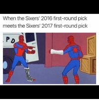 Lmao 😂😂 tag a @sixers fan ....💀: When the Sixers' 2016 first-round pick  meets the Sixers' 2017 first-round pick  P D Lmao 😂😂 tag a @sixers fan ....💀