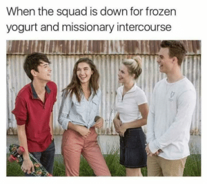 SQUAD UP by BluePantera FOLLOW 4 MORE MEMES.: When the squad is down for frozen  yogurt and missionary intercourse SQUAD UP by BluePantera FOLLOW 4 MORE MEMES.