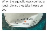 Roast, Squad, and Rough: When the squad knows you had a  rough day so they take it easy on  you  ROAST LEVEL  LIGHT  MEDIUM  DARK