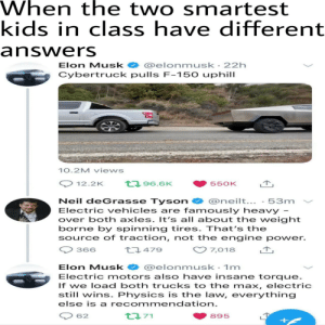 Neil deGrasse Tyson, Kids, and Power: When the two smartest  kids in class have different  answers  @elonmusk 22h  Cybertruck pulls F-150 uphill  Elon Musk  10.2M views  t96.6K  12.2K  550K  Neil deGrasse Tyson  @neilt...-53m  Electric vehicles are famously heavy  over both axles. It's all about the weight  borne by spinning tires. That's the  source of traction, not the engine power.  t479  7,018  366  @elonmusk 1m  Electric motors also have insane torque.  If we load both trucks to the max, electric  still wins. Physics is the law, everything  Elon Musk  else is a recommendation.  t71  62  895 Duel of the Fates plays