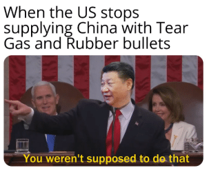 China bad: When the US stops  supplying China with Tear  Gas and Rubber bullets  You weren't supposed to do that China bad