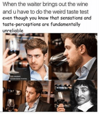 Sensational, Existentialist, and Non Existent: When the waiter brings out the wine  and u have to do the weird taste test  even though you know that sensations and  taste-perceptions are fundamentally  unreliable  non-existent  existentialist memes