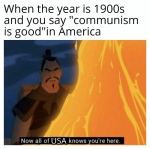 """America, Meme, and History: When the year is 1900s  and you say """"communism  is good""""in America  Now all of USA knows you're here. Little commie commie meme"""