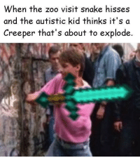 Snake, Zoo, and Kid: When the zoo visit snake hisses  and the autistic kid thinks it's a  Creeper that's about to explode <p>ssSSSSSssssss</p>