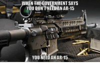 """America, Guns, and Memes: WHEN THEGOVERNMENT SAYS  YOU DON'T-NEED N AR-15  YOU NEED AN AR-15  imgflip.com """"When did they try to take your guns?"""" We get asked this question every day. There is a very simple response. Ms. Dianne Feinstein, a sitting US Senator said the following (paraphrase):   IF I HAD THE VOTES, WE WOULD SAY, MR. AND MRS. AMERICA - TURN THEM ALL IN... -- Cold Dead Hands Apparel & Gear: CDH2A.COM/shop"""