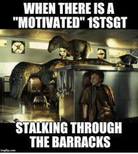 "Memes, Stalking, and Army: WHEN THERE ISA  ""MOTIVATED"" 1STSGT  STALKING THROUGH  THE BARRACKS  imgflip.com hide skate workparty military militarylife army navy marines airforce coastguard nationalguard"